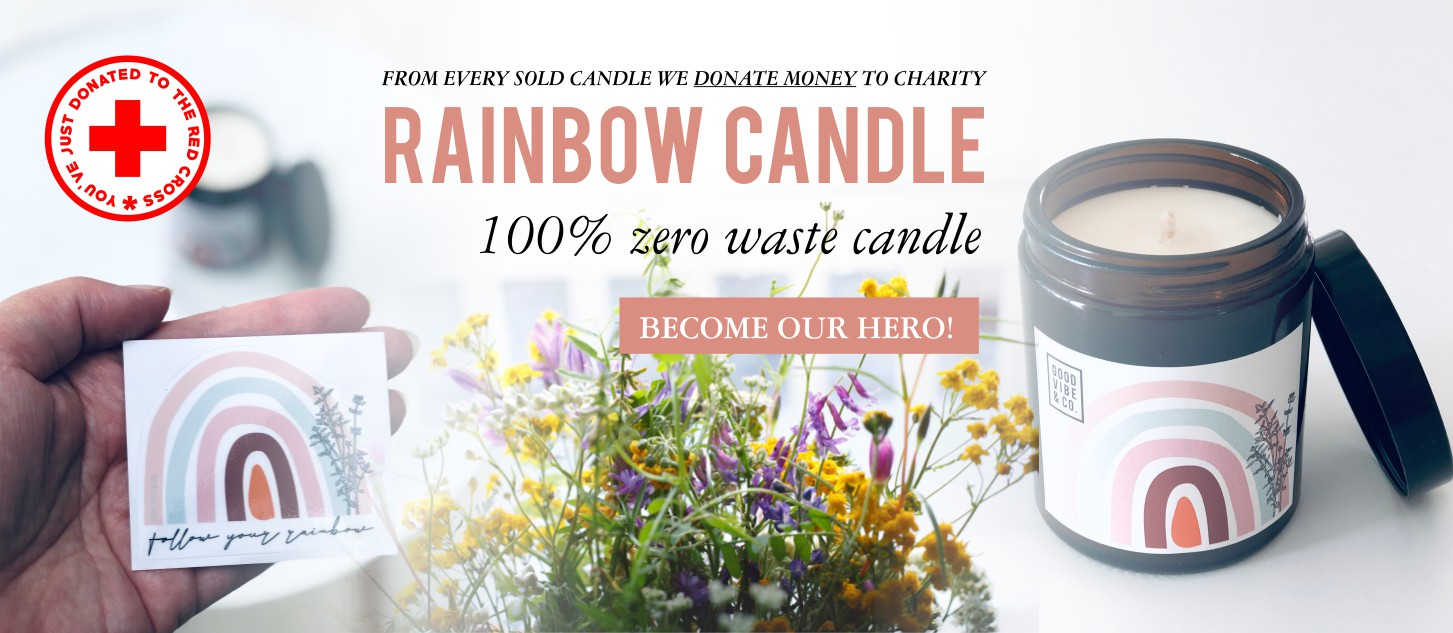 GOOD VIBE & CO banner rainbow candle zero waste charity
