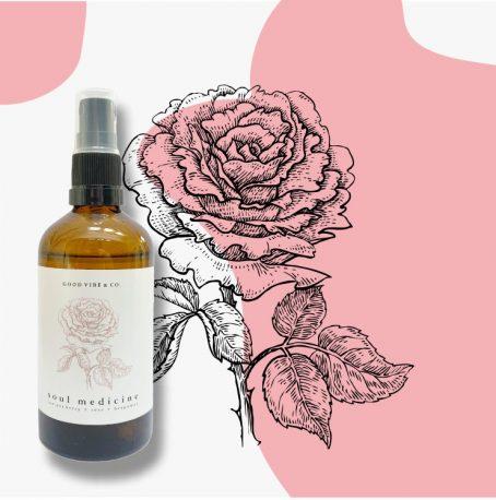 Sfeer Mist met roos essentiële olie Soul Medicine